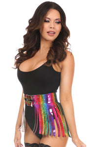 RAINBOW GLITTER FRINGE MINI SKIRT