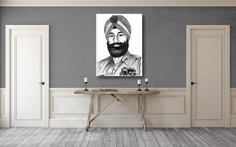 Ball Point Pen Art - General Shabeg Singh - Portrait Canvas