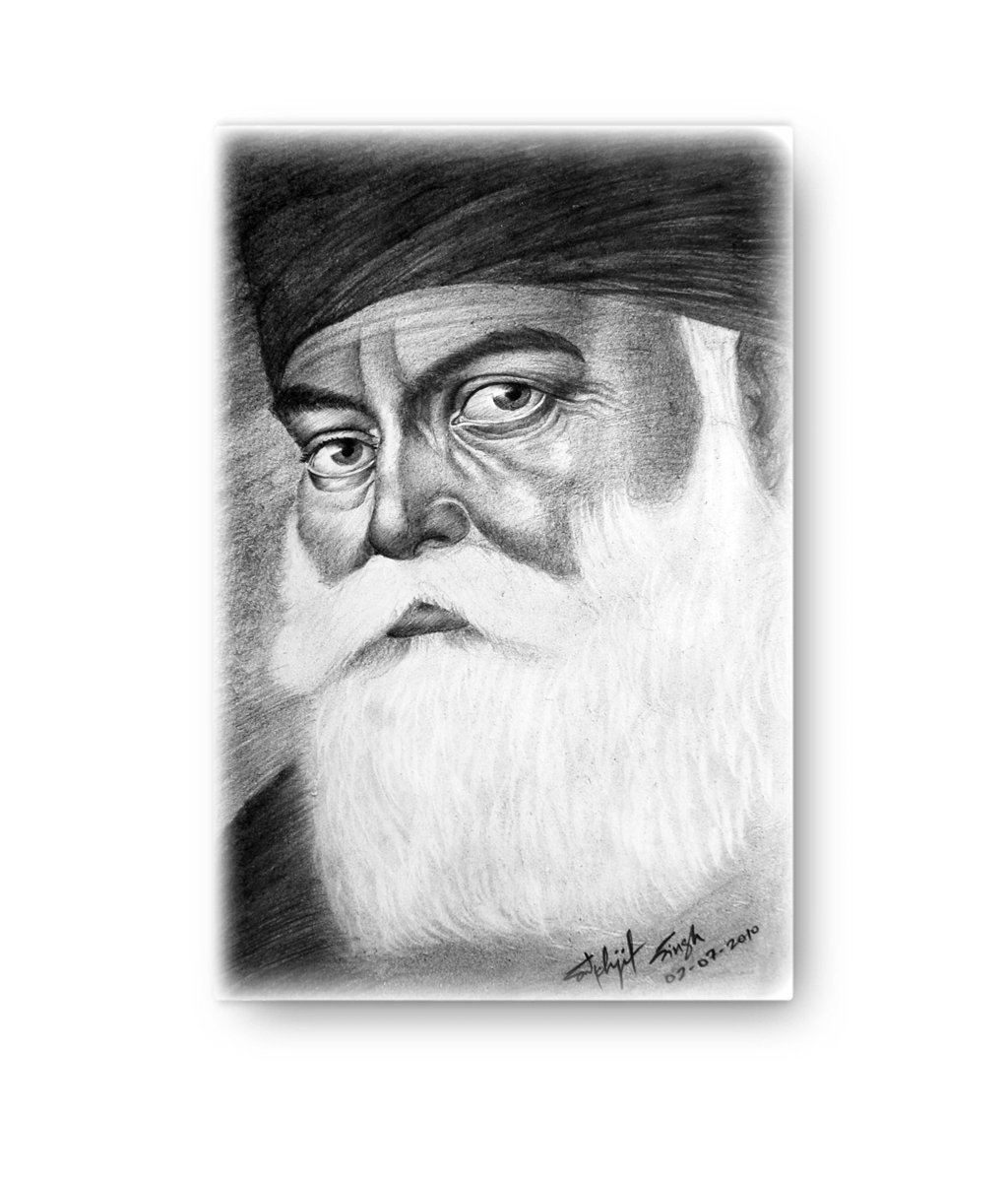 GURU NANAK DEV JI - Pencil Portrait Canvas (NEW)