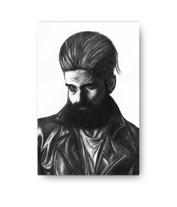 Pencil Art - Leather Jacket  Portrait Canvas