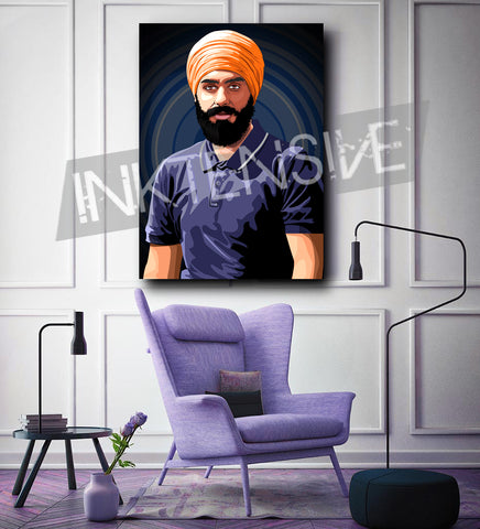 VEXEL ART - JAGTAR SINGH JOHAL DIGITAL VECTOR PORTRAIT - CANVAS PRINT