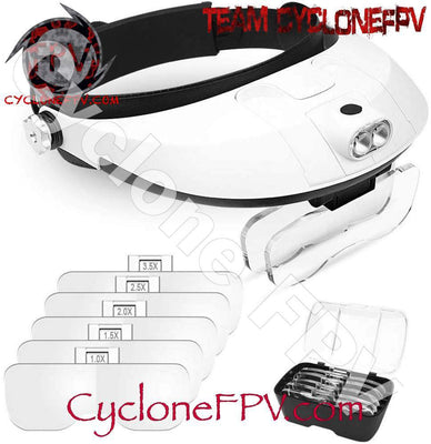 Large Head Mount Magnifier with LED and Lenses - Cyclone FPV