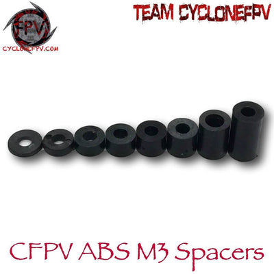 M3 Drone Non-Threaded Spacers 10 Sizes ABS Black 100 Count - Cyclone FPV