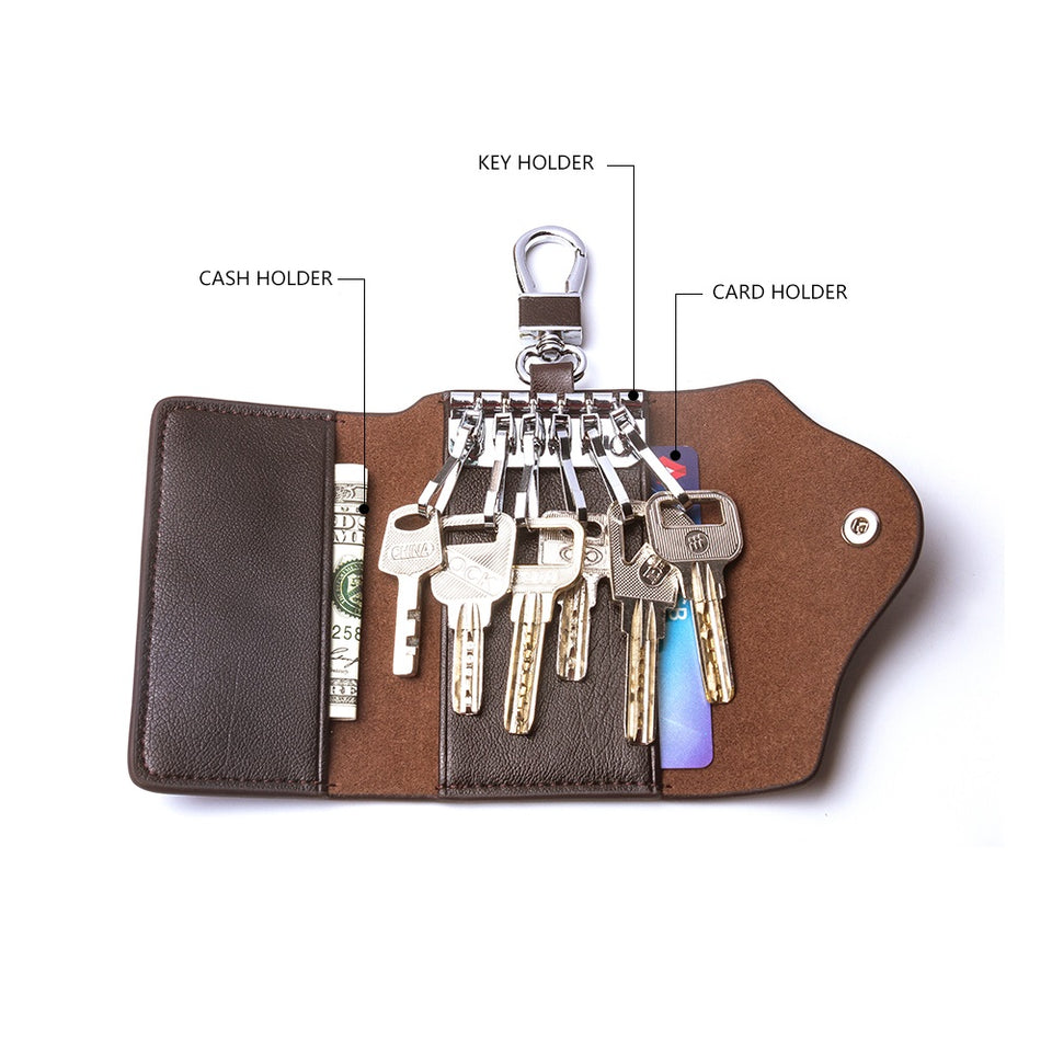 Genuine Leather Key Case With Card Slot-RnB.Style