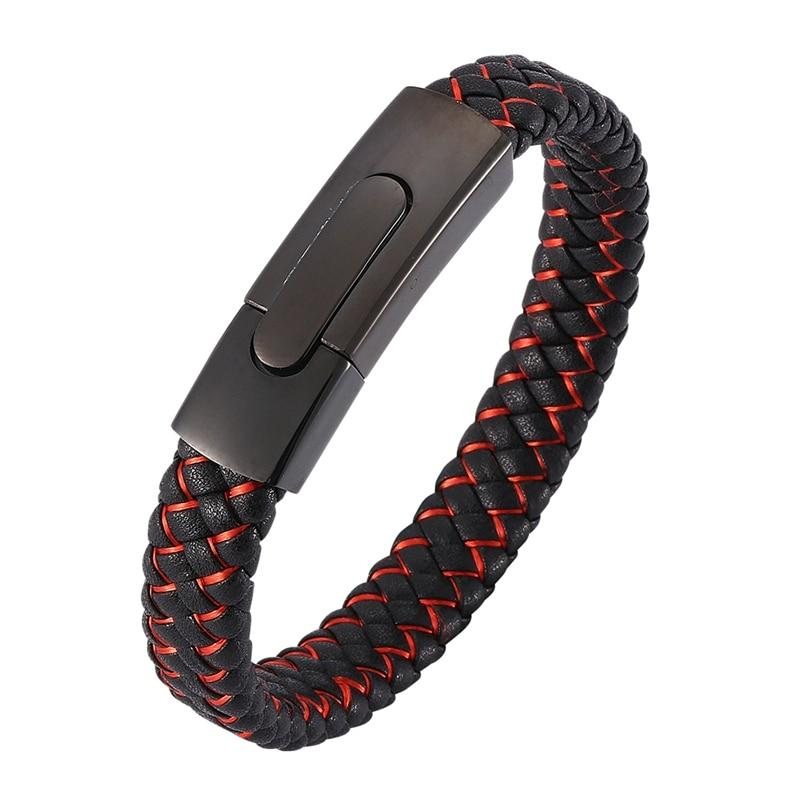Aiden Casual Red Black Leather Steel Bracelet-RnB.Style