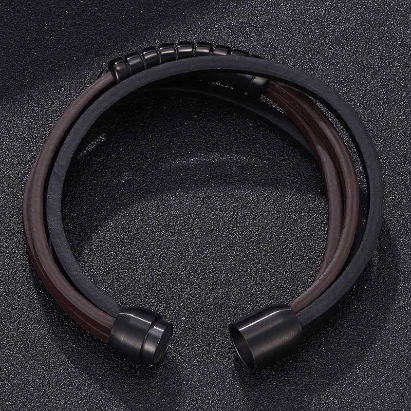 Amell Unique Leather Stainless Steel Magnetic Bracelet-RnB.Style
