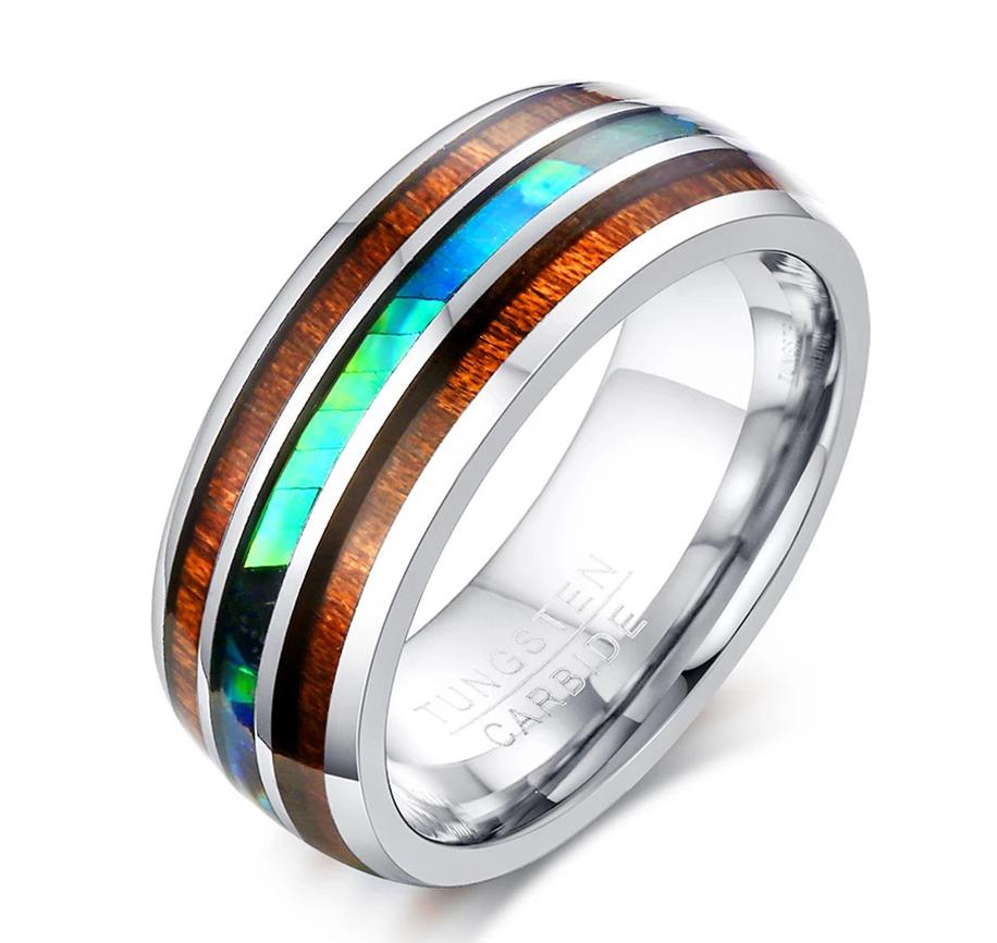Anel Tungsten Carbide Wood Pattern Ring-RnB.Style