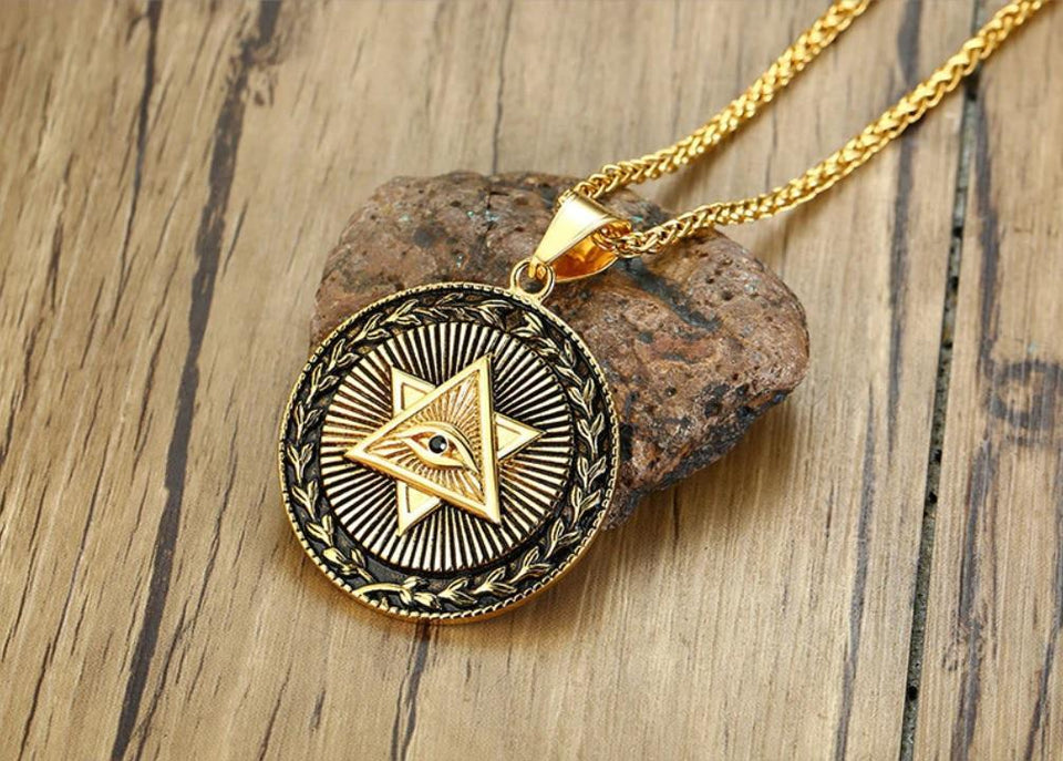 Antique Illuminati Gold Triangle Eye of Providence Chain-RnB.Style