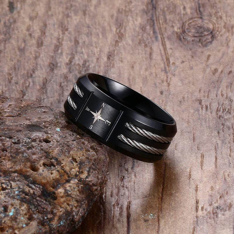 Black Steel Compass Wire Men's Ring-RnB.Style