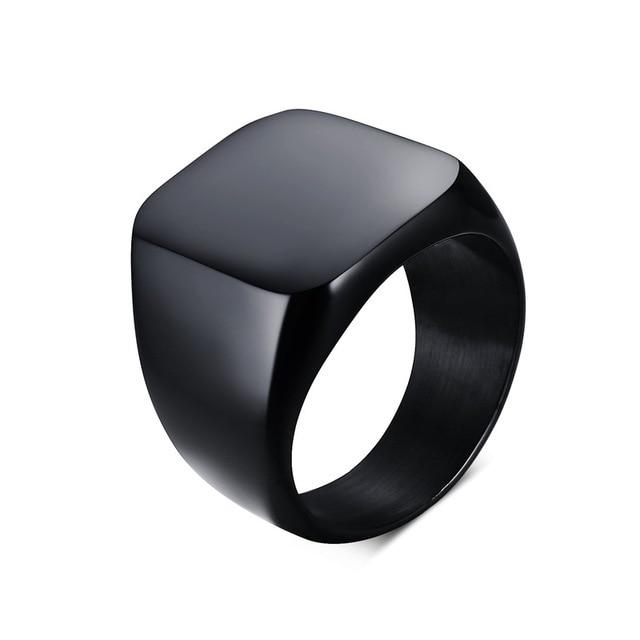 Black Steel Signet Ring-RnB.Style