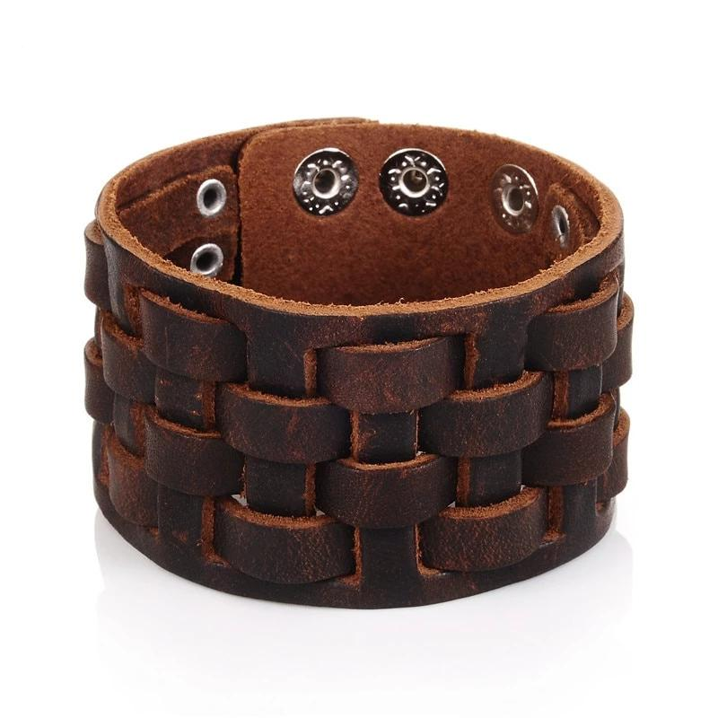 Genuine Brown Leather Punk Wide Cuff Bracelet-RnB.Style