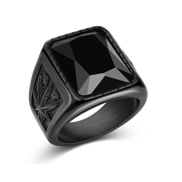 Hip Hop Black Rock Stone Steel Ring-RnB.Style