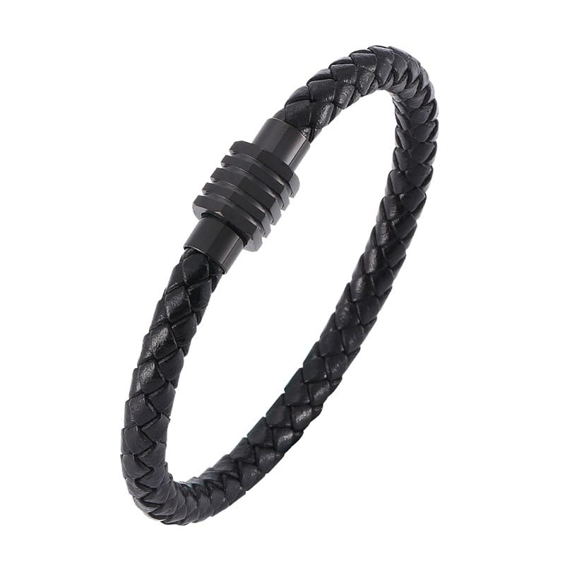 Mechanic Style Black Leather Steel Magnetic Bracelet-RnB.Style