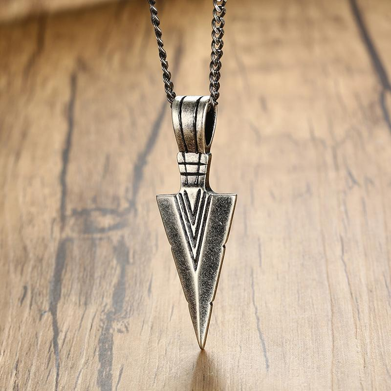 Oxidized Steel Spearhead Tribal Pendant-RnB.Style