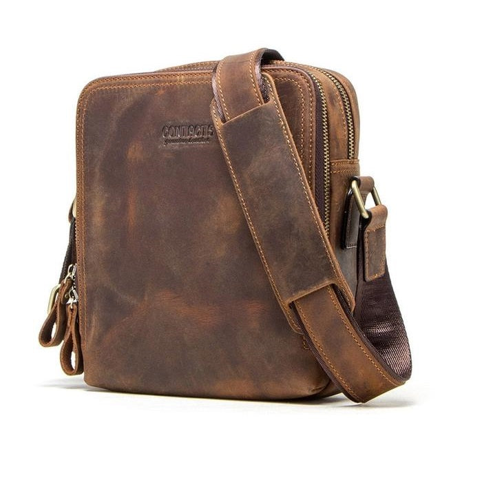 Indiana Coffee Genuine Leather Crossbody Bag-RnB.Style