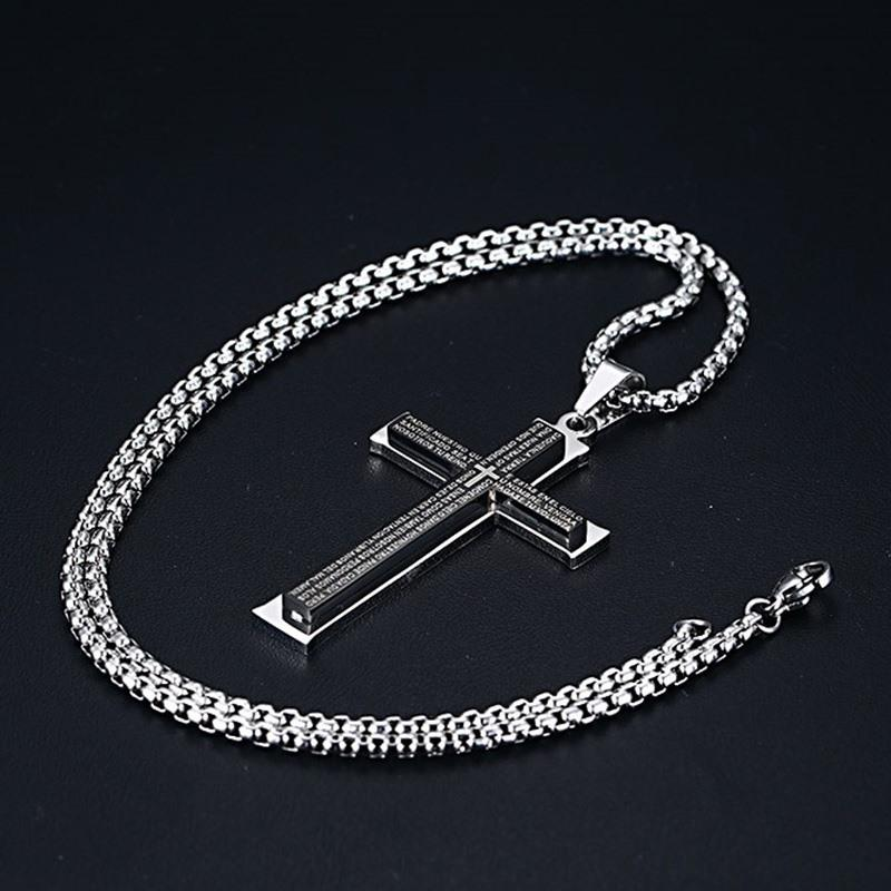 Spanish Bible Prayer Steel Cross Pendant-RnB.Style