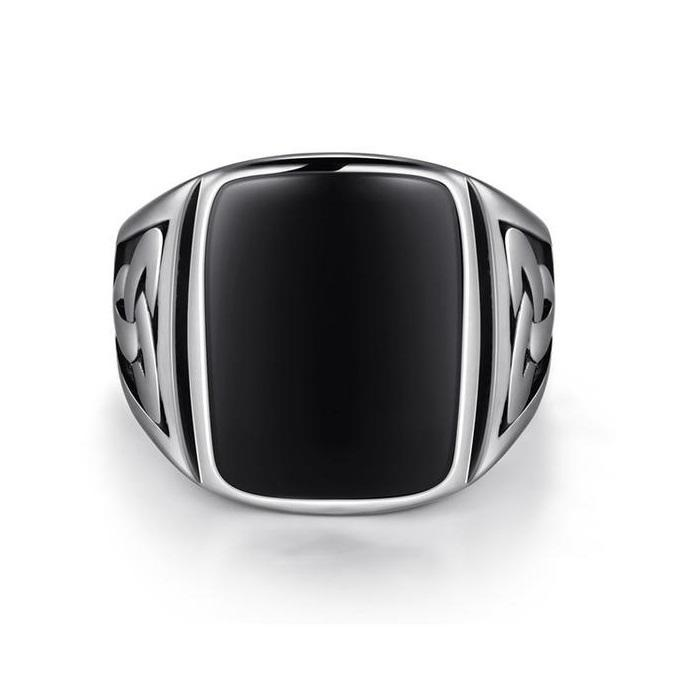 Trinity Black Crystal Stone Stainless Steel Ring-RnB.Style