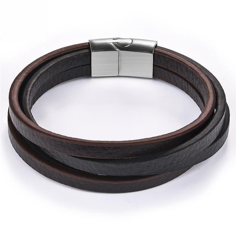 Unique Multilayer Leather Stainless Steel Magnetic Bracelet-RnB.Style
