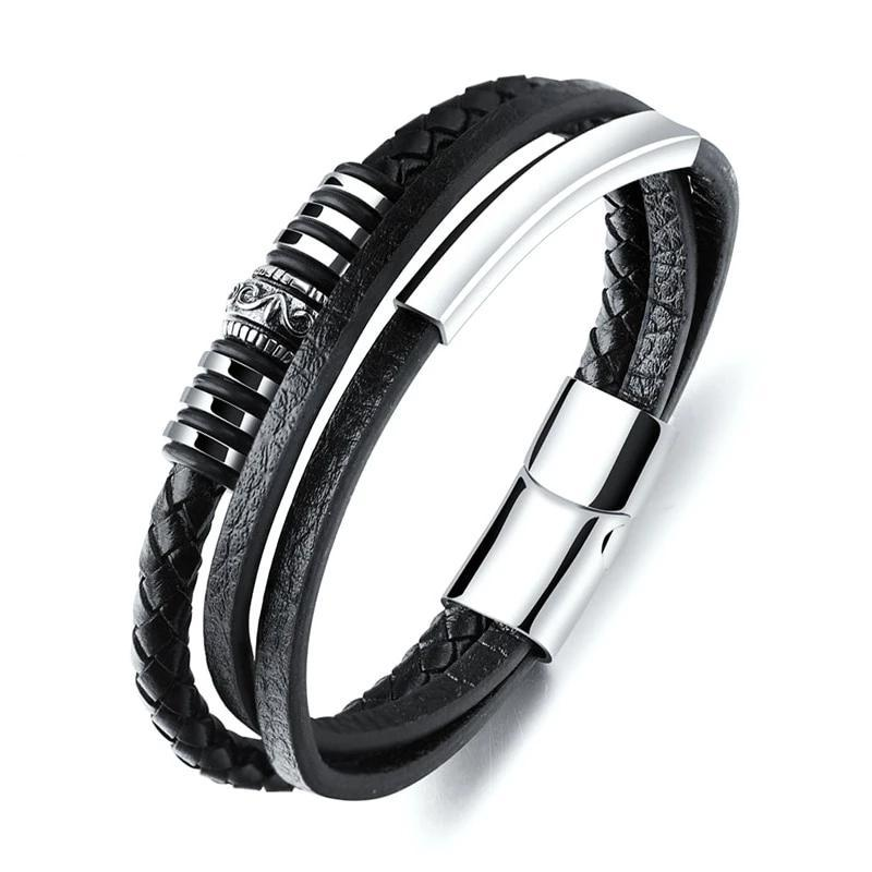 Unique Steel Leather Multilayer Bracelet-RnB.Style