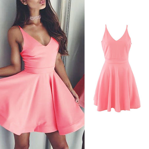 V Neck  Plain Skater Dresses