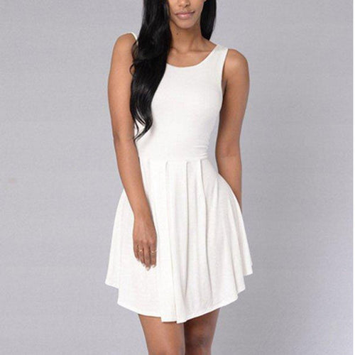 Backless Plain Sleeveless Skater Dresses