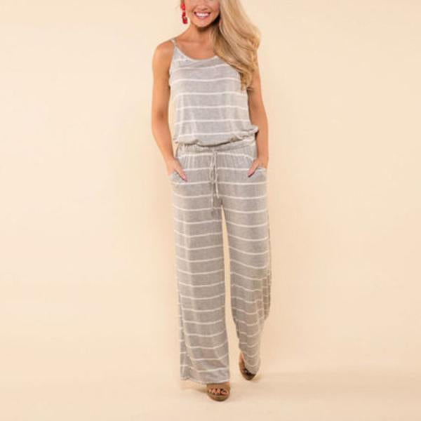 Backless Sexy Striped Striped Jumpsuit