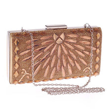 Load image into Gallery viewer, Gold Geometric Crystal Evening Clutch Bag