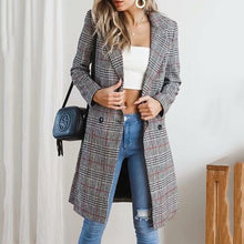 Load image into Gallery viewer, Fashion Plaid Long Trench Coat