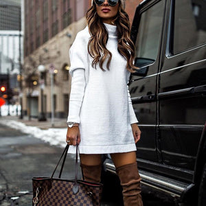 Fashion Plain Long Sleeve Sweater Casual Dress