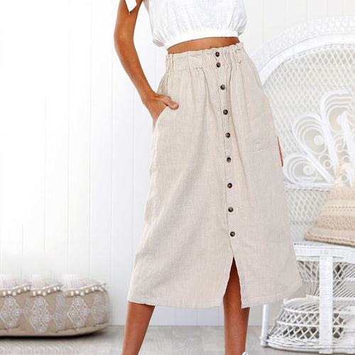 Solid Color A-Line Single-Breasted One-Piece High Waist Skirt