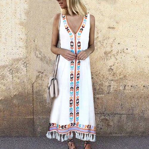 Sexy V Neck Floral Printed Tassel Sleeveless Vintage Dress Maxi Dress