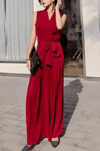 Load image into Gallery viewer, Fashion V Collar Plain Sleeveless Bow Wide Leg Jumpsuit