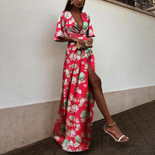 Load image into Gallery viewer, Sexy Red Short Sleeves Floral Print Maxi Dress
