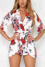Load image into Gallery viewer, Sexy V Neck Half Sleeves Floral Print Rompers