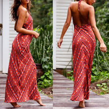 Load image into Gallery viewer, Sexy Red Floral Print Vacation Maxi Dress