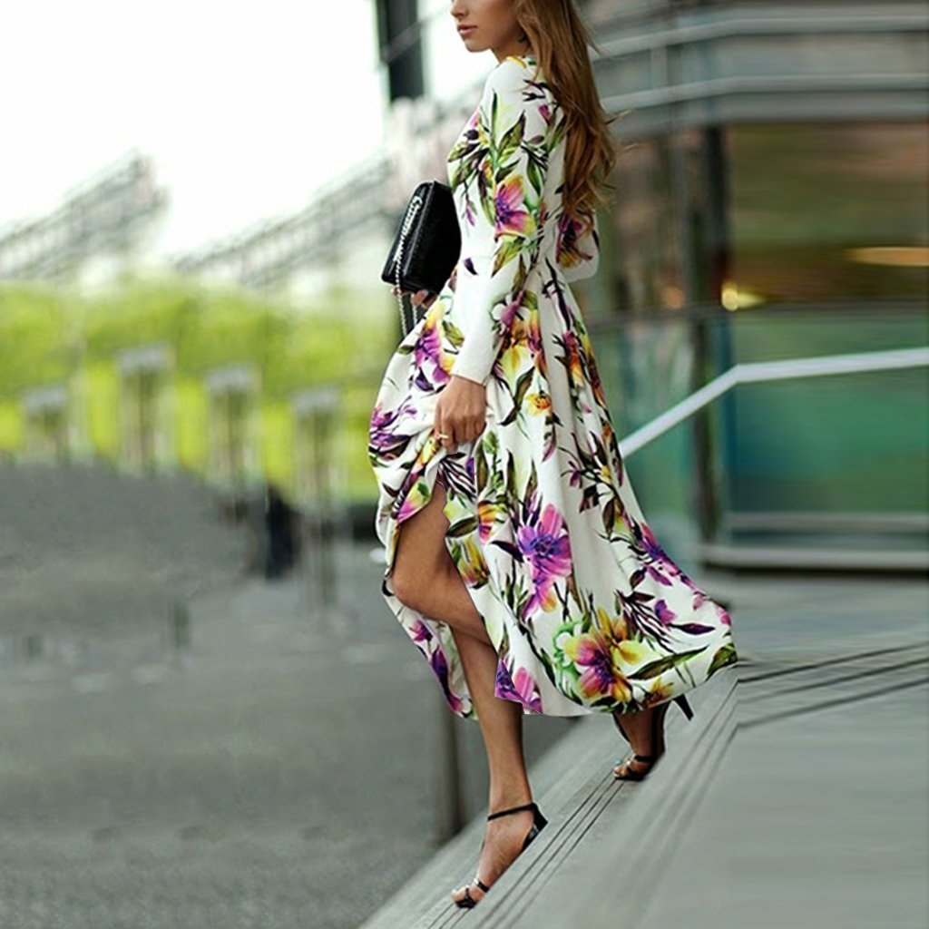 Long-Sleeved Printed Round Collar Expansion Maxi Vacation Dress