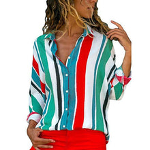 Load image into Gallery viewer, Sexy Multi Stripe Long Sleeves Blouses T-Shirt