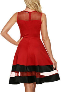 Red Mesh Patchwork Color Block Skater Dress