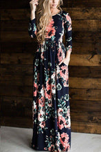 Load image into Gallery viewer, Round Neck Floral Long Sleeve Maxi Dresses