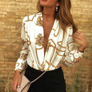 Sexy Deep V Print   Long-Sleeved Fashion Blouse Shirt