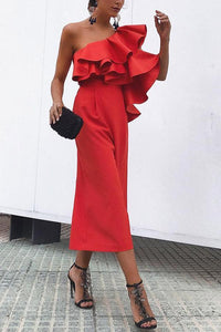 Fall Chic One-Shouldered High-Waist  Jumpsuit