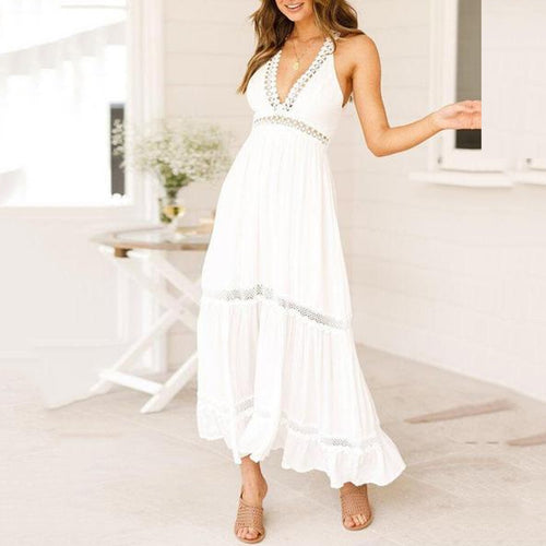 Bark Linen Lace Halter High Waist Long Strap Dress