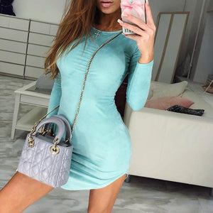 Fashion Plain Long Sleeve Bodyon Dress