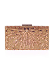 Gold Geometric Crystal Evening Clutch Bag