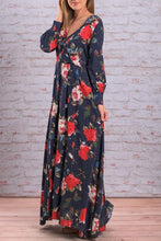 Load image into Gallery viewer, V Neck  Floral Printed  Long Sleeve Maxi Dresses