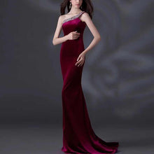 Load image into Gallery viewer, Single Shoulder Fishtail Dress Evening Dress