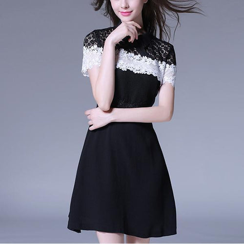 Perspective Lace Short-Sleeved Evening Dress