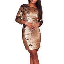 Load image into Gallery viewer, Gold Sequins Slim Party Evening Dress Bodycon Dress