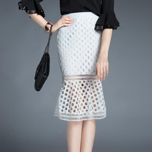 Lace Fish Tail Slim Skirt