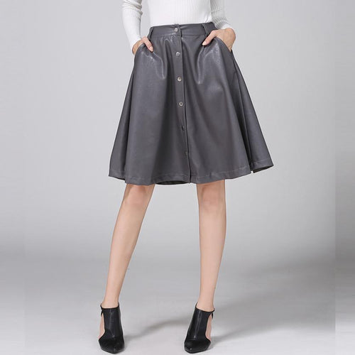 Single-Breasted Leather A Skirt